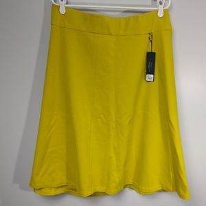 LANE BRYANT Ponte Knit Circle Skirt Yellow Pull On